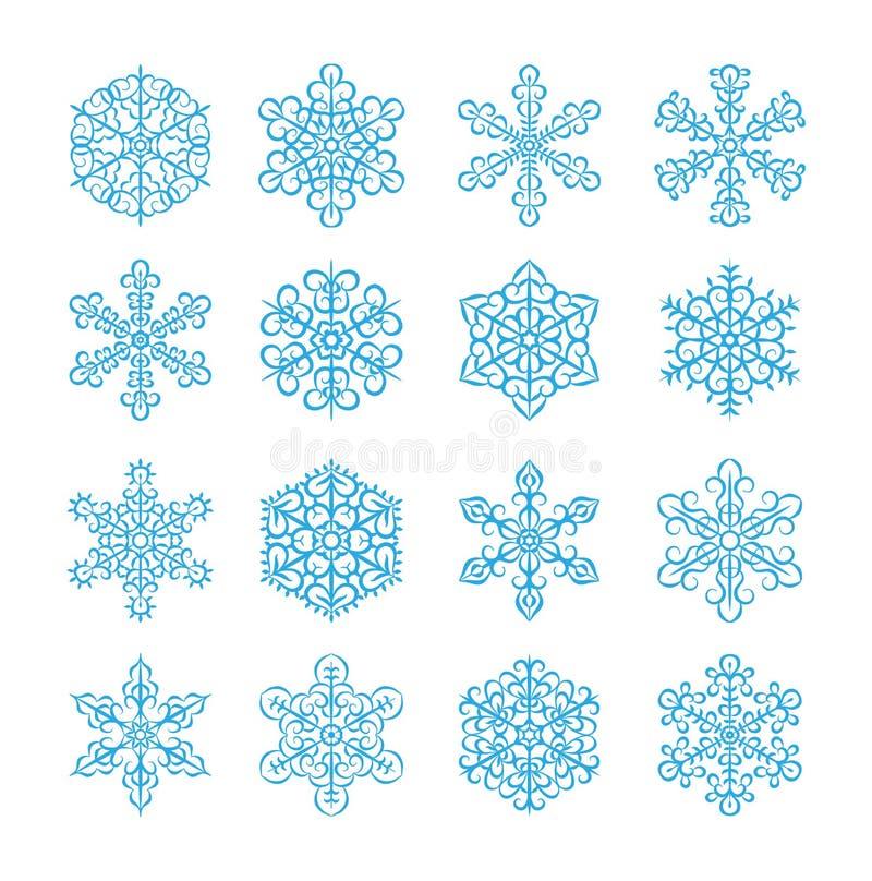 Linha grupo do ícone dos flocos de neve Ilustração do vetor de flocos da neve do inverno Objeto isolado ilustração do vetor