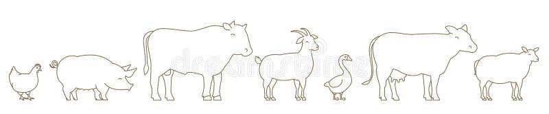 Linha grupo do animal de exploração agrícola Produção da agricultura Vaca e touro, pato e galinha Cabra e porco dos carneiros Lin ilustração royalty free