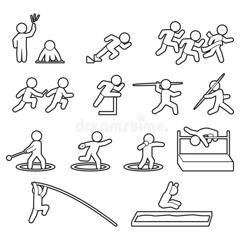Linha grupo do atletismo do atletismo do ícone Grupo do ícone dos esportes do esboço Vetor ilustração do vetor