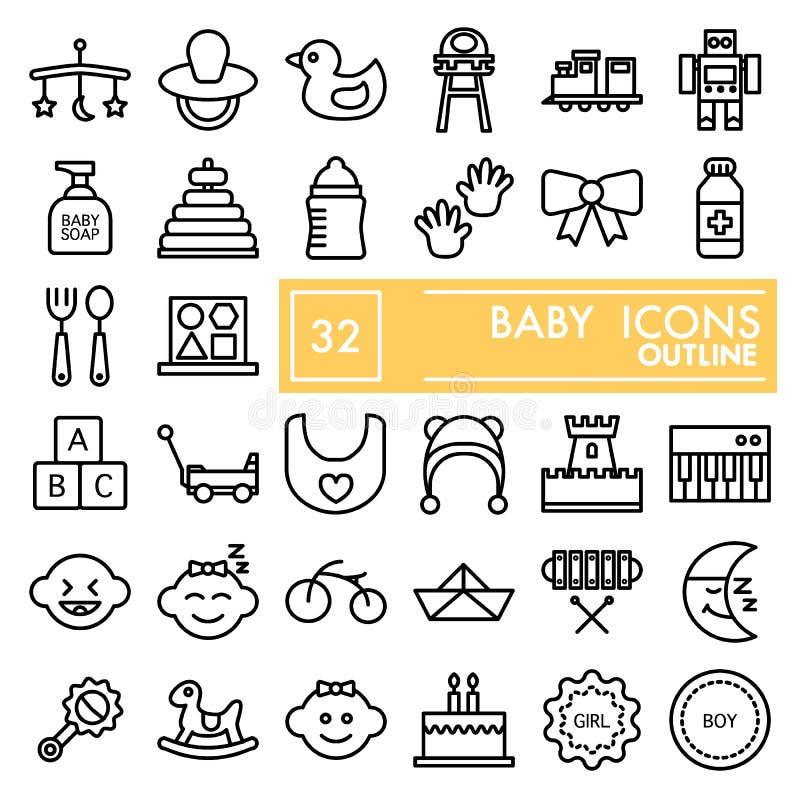 A linha grupo do bebê do ícone, símbolos coleção do brinquedo, esboços do vetor, ilustrações do logotipo, crianças assina pictogr ilustração royalty free