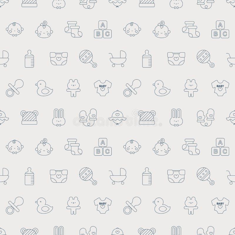 Linha grupo do bebê do teste padrão do ícone ilustração stock