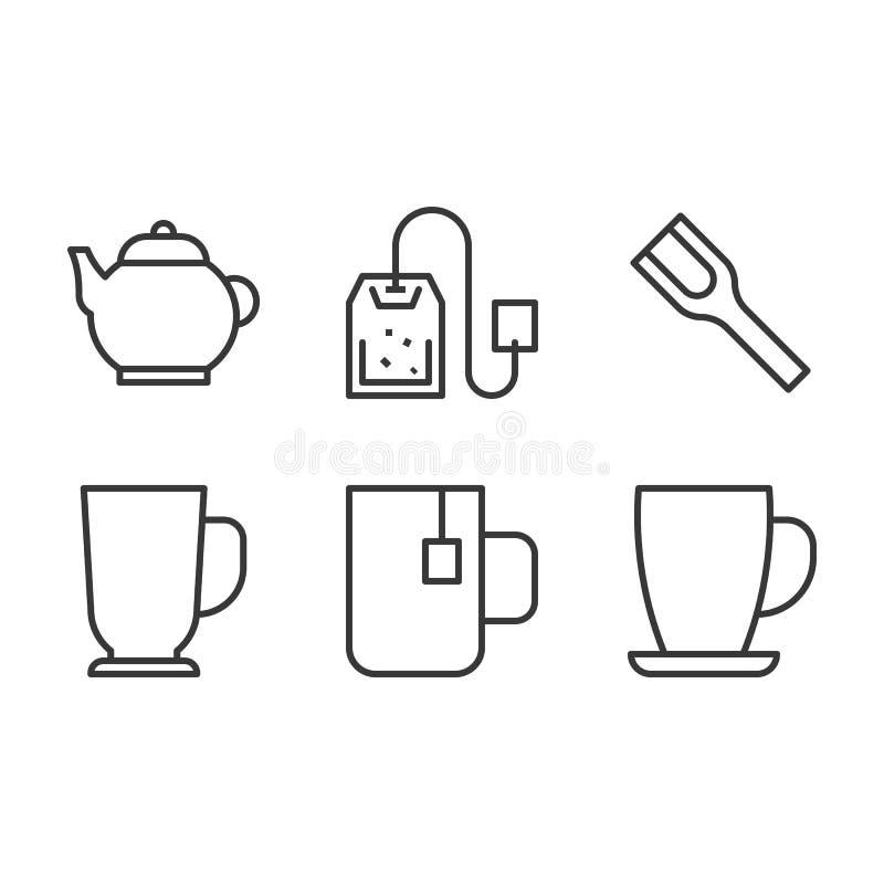 Linha grupo do café e do chá do ícone ilustração stock