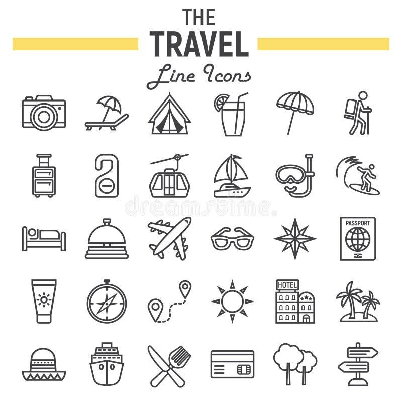 Linha grupo do curso do ícone, coleção dos símbolos do turismo ilustração royalty free