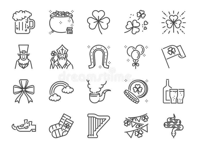 Linha grupo do dia de St Patrick do ícone Ícones incluídos como o trevo, a folha do trevo, celebração, feriado, partido e mais ilustração stock