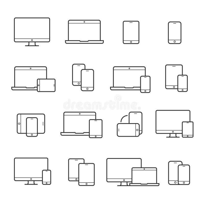 Linha grupo do dispositivo do ícone ilustração stock