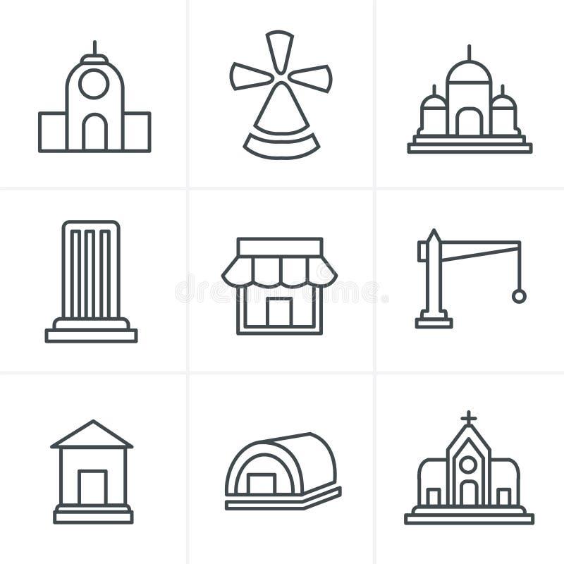 Linha grupo do estilo dos ícones ilustração stock