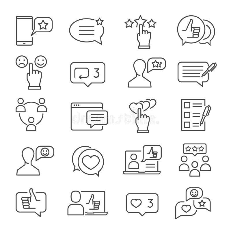 Linha grupo do feedback do ícone ilustração royalty free