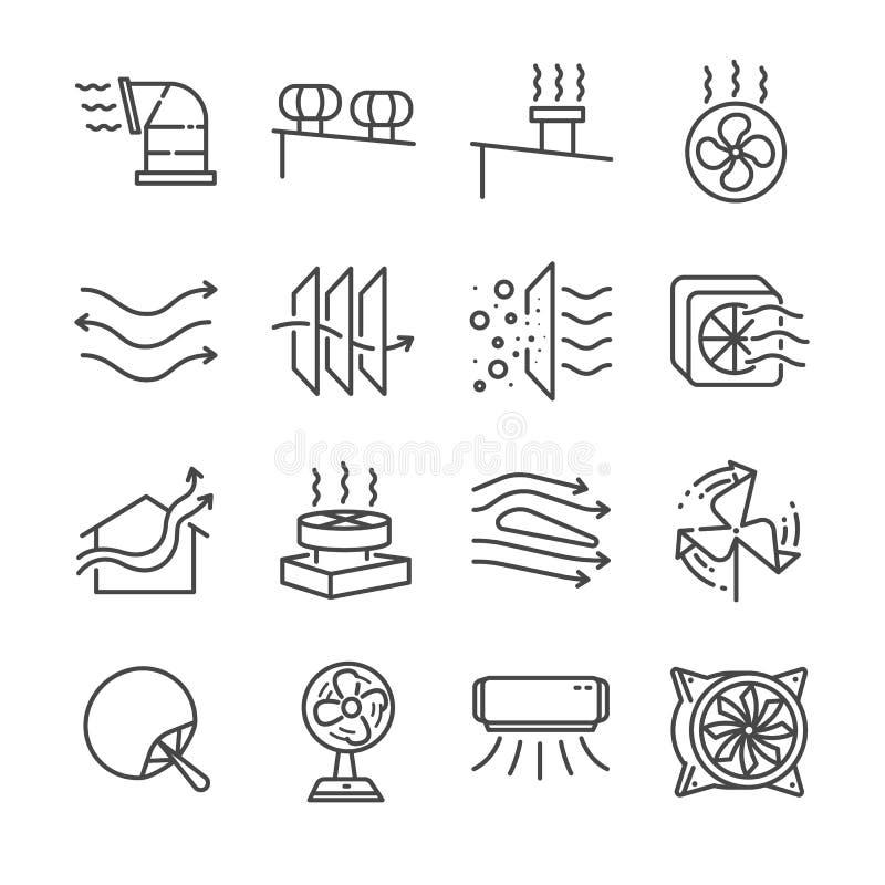 Linha grupo do fluxo de ar do ícone Incluiu os ícones como o fluxo de ar, a turbina, o fã, a ventilação do ar, os ventiladores e  ilustração do vetor