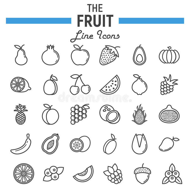 Linha grupo do fruto do ícone, coleção dos símbolos do alimento ilustração stock