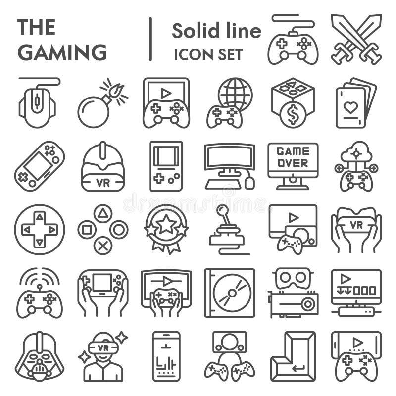 Linha grupo do jogo do ícone, símbolos coleção dos jogos de vídeo, esboços do vetor, ilustrações do logotipo, sinais dos disposit ilustração stock
