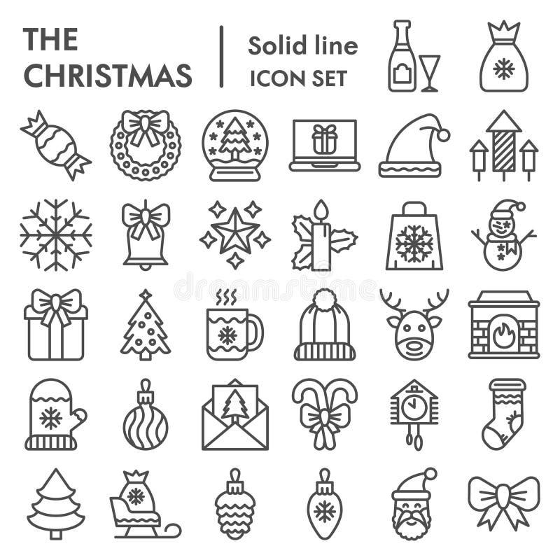 Linha grupo do Natal do ícone, símbolos coleção da celebração, esboços do vetor, ilustrações do logotipo, sinais do inverno linea ilustração royalty free