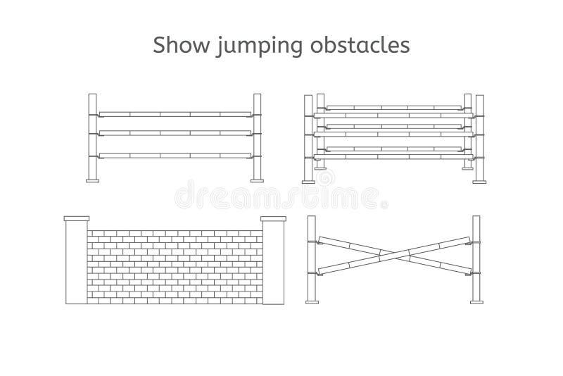 Linha grupo do preto do vetor de obstáculos de salto da mostra ilustração royalty free