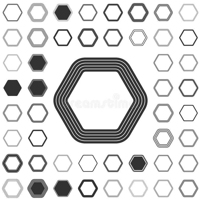 Linha grupo do projeto do logotipo do hexágono ilustração stock