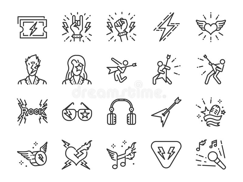 Linha grupo do rock and roll do ícone Incluiu os ícones como o balancim, o menino de couro, o concerto, a música, o músico, o cor ilustração stock