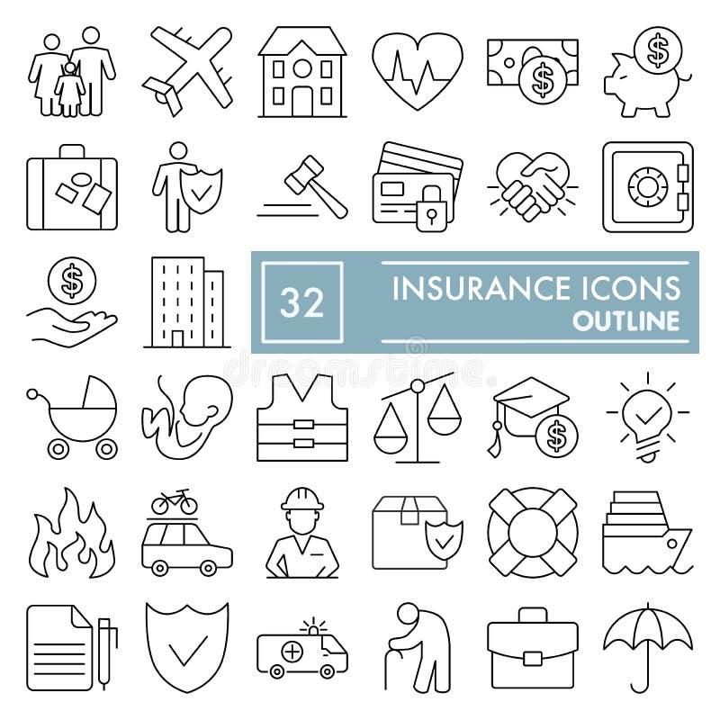 Linha grupo do seguro do ícone, símbolos coleção da proteção, esboços do vetor, ilustrações do logotipo, sinais de segurança line ilustração royalty free