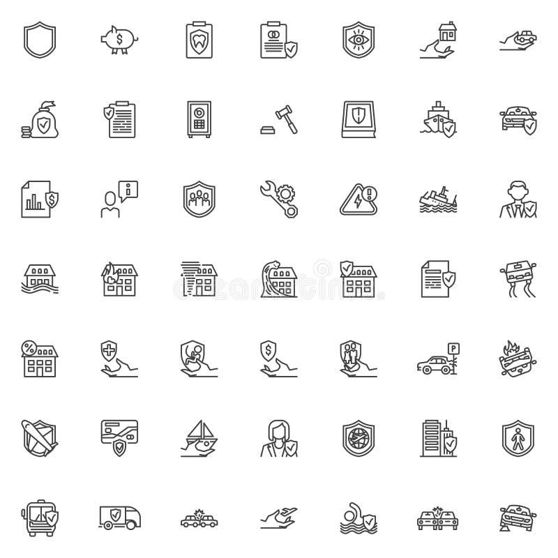 Linha grupo do seguro dos ícones ilustração stock