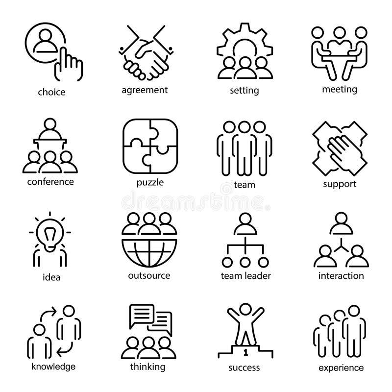 Linha grupo do trabalho da equipe do ícone da arte, símbolo da unidade de negócio ilustração royalty free