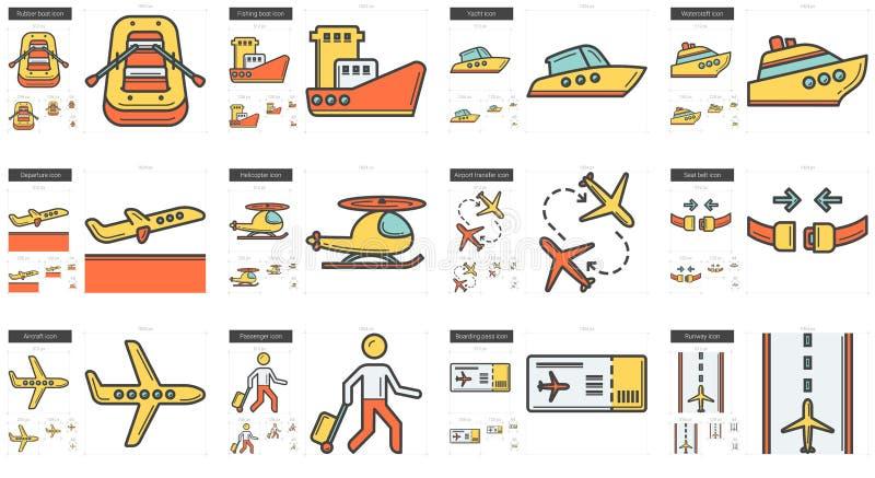 Linha grupo do transporte do ícone ilustração do vetor