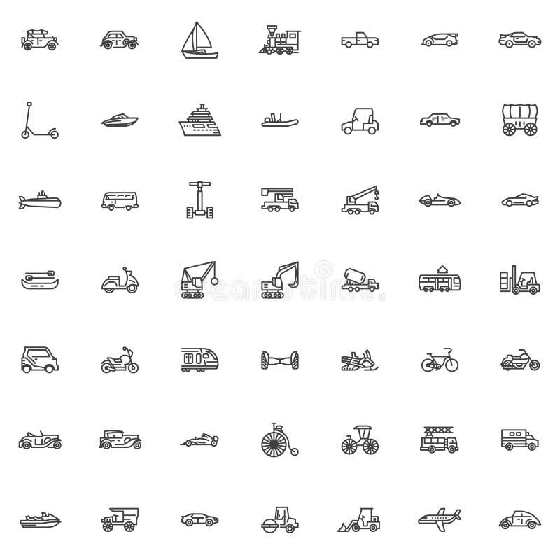 Linha grupo do transporte e de transporte dos ícones ilustração stock