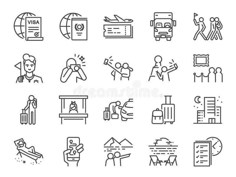 Linha grupo do turismo do ícone Ícones incluídos como o turista, guia, viajante, férias e mais ilustração do vetor