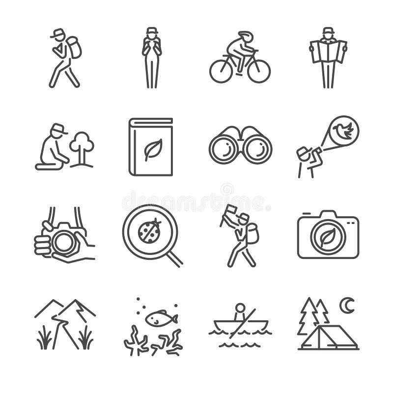 Linha grupo do turismo de Eco do ícone ilustração stock