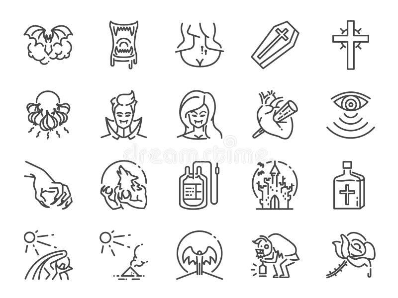 Linha grupo do vampiro do ícone Ícones incluídos como o monstro, sangue, colmilho, vivo e mais ilustração do vetor