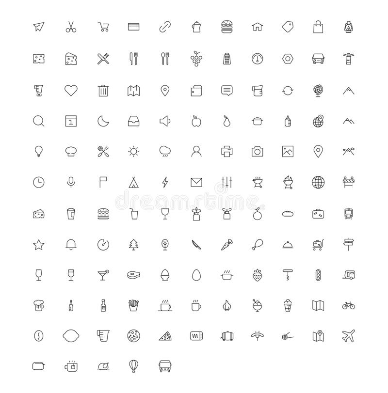 Linha grupo do vetor do ícone da arte ilustração stock