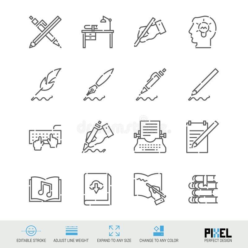 Linha grupo do vetor do ícone A escrita, autor, registra ícones lineares relacionados Símbolos da pena e da tinta, pictograma, si ilustração stock