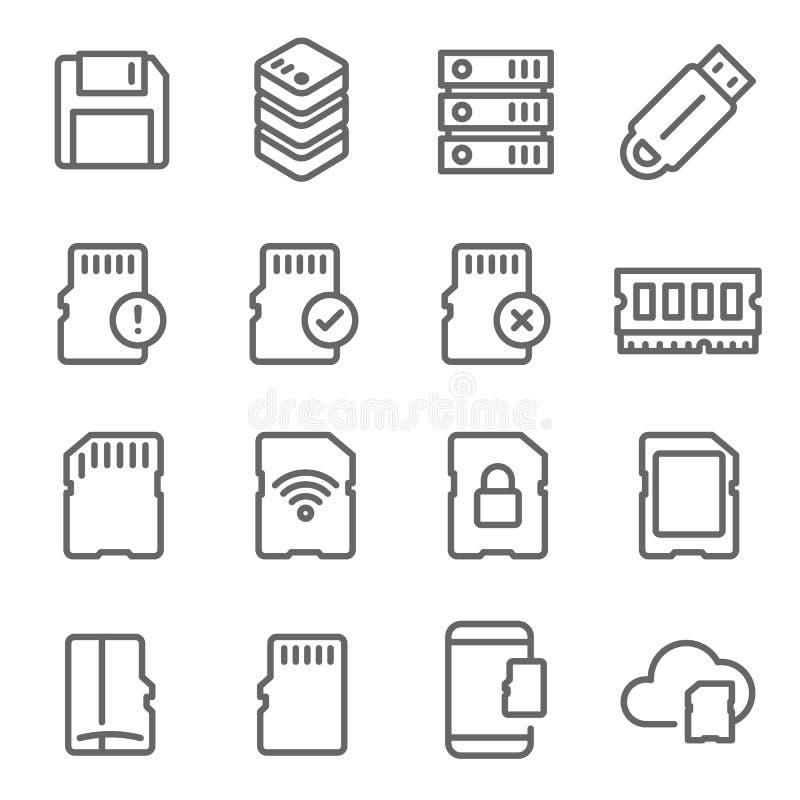 Linha grupo do vetor do cartão de memória do ícone Contém ícones como a movimentação do polegar, cartão de Wifi SD, banco de dado ilustração stock