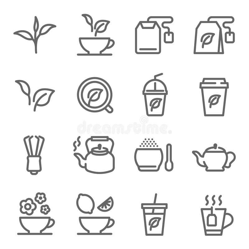 Linha grupo do vetor do chá do ícone Contém ícones como a folha de chá, potenciômetro do chá, pó do chá verde e mais Curso expand ilustração do vetor