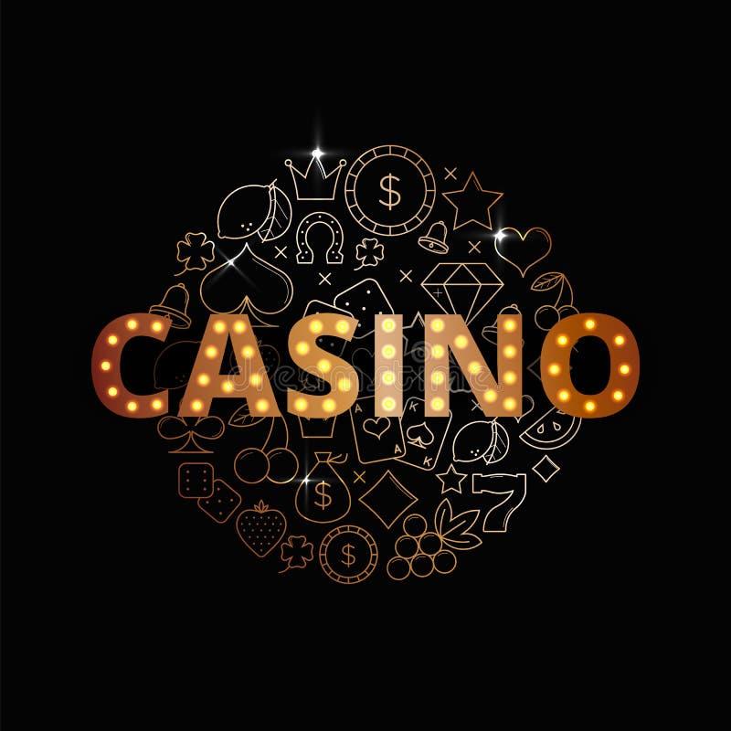Linha grupo do vetor da arte de ícones, de símbolos e de artigos do casino Projeto superior da bandeira do casino ilustração stock