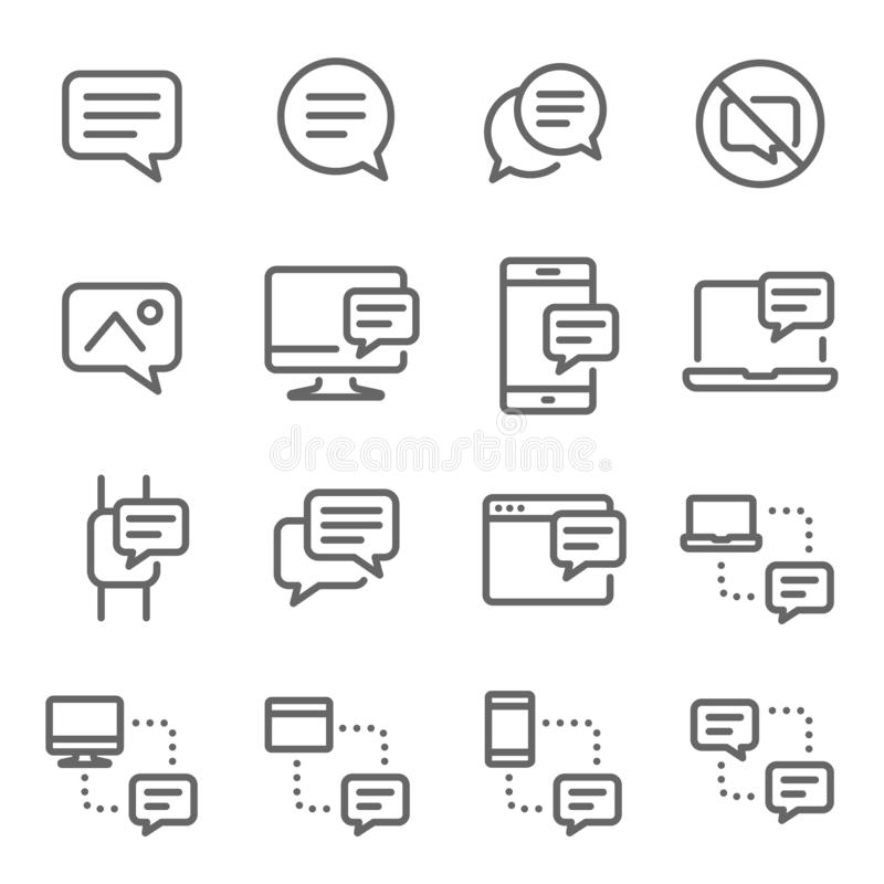 Linha grupo do vetor da mensagem do bate-papo da bolha do ícone Contém ícones como a conversação, SMS, notificação, uma comunicaç ilustração royalty free