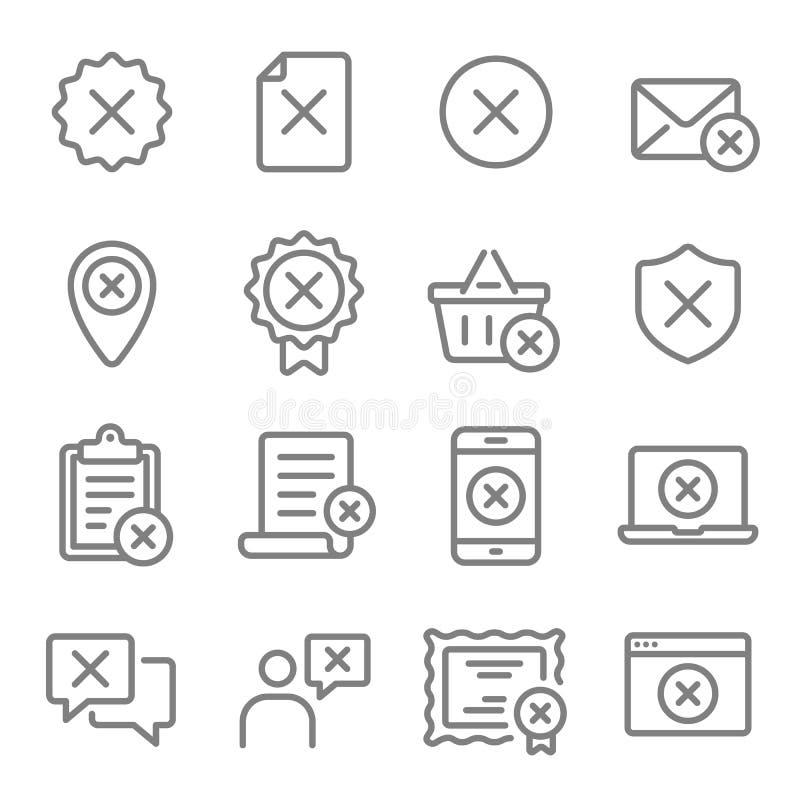 Linha grupo do vetor da rejeição do ícone Contém ícones como o cancelamento, nega, erro, falhado e mais Curso expandido ilustração do vetor