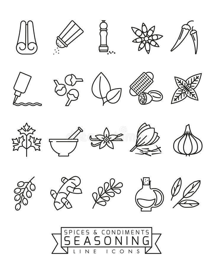 Linha grupo do vetor das especiarias e dos condimentos do ícone ilustração royalty free