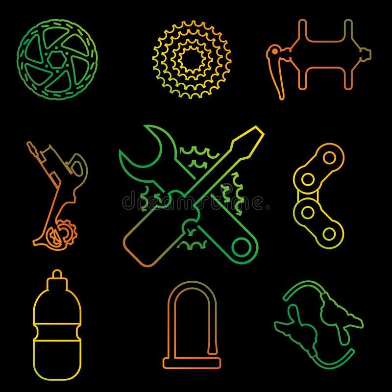 Linha grupo do vetor das peças, dos acessórios, do reparo e da manutenção da bicicleta do ícone ilustração royalty free