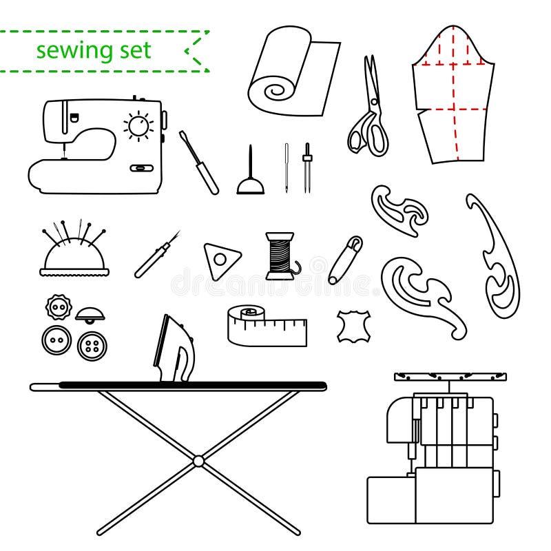 Linha grupo do vetor do ícone da costura Grupo esboçado do ícone do vetor do bordado ilustração royalty free