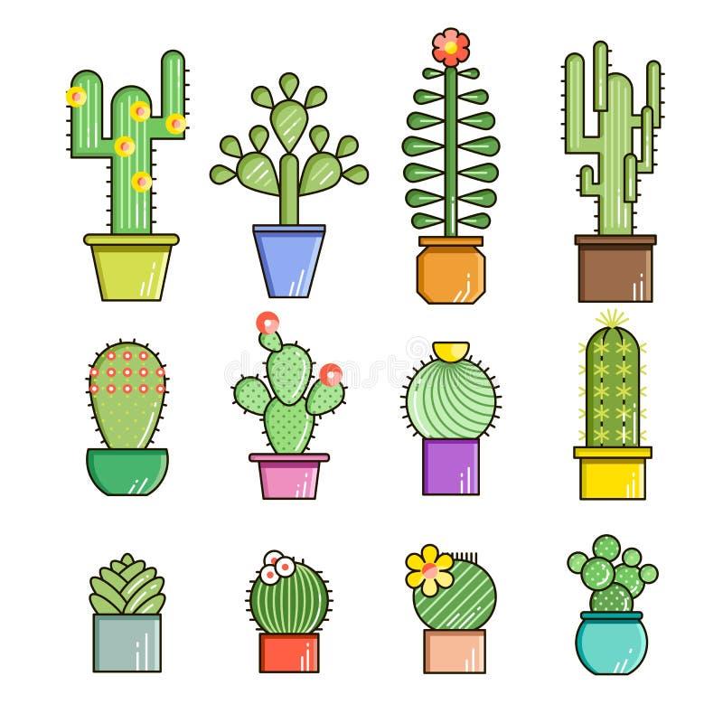 Linha grupo do vetor do cacto e das plantas carnudas do ícone r : ilustração royalty free