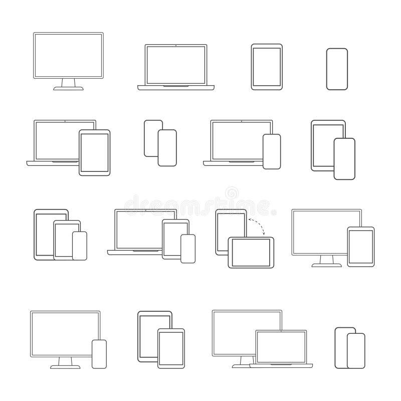 Linha grupo dos dispositivos de Digitas do ícone, no fundo branco ilustração royalty free