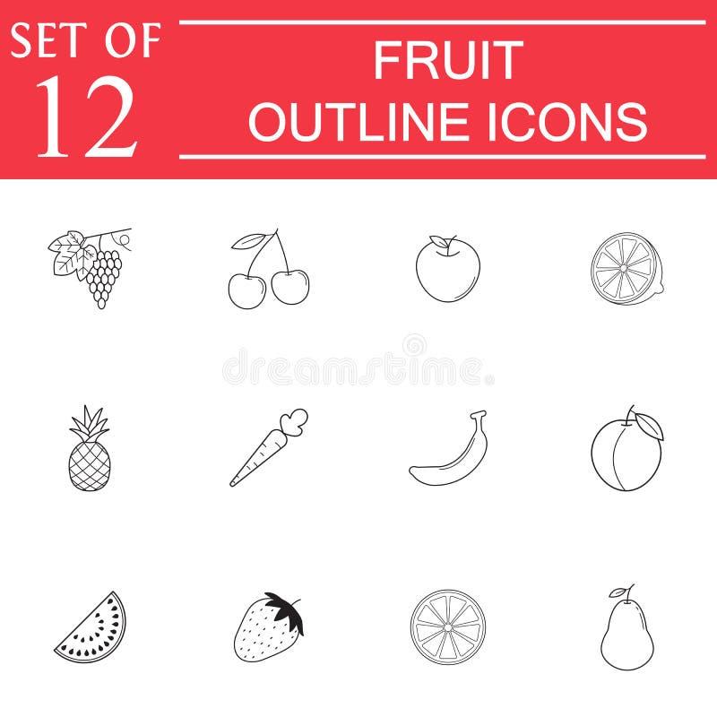 Linha grupo dos frutos do ícone, alimento orgânico do vegetariano ilustração royalty free