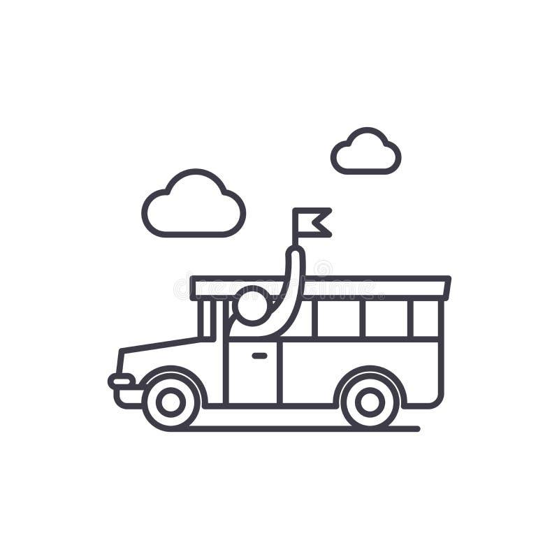 Linha guiada conceito da excursão do ícone Ilustração linear guiada do vetor da excursão, símbolo, sinal ilustração do vetor
