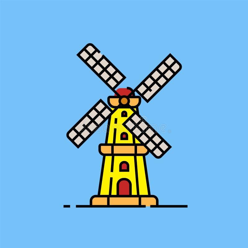 Linha holandesa ícone do moinho de vento ilustração royalty free