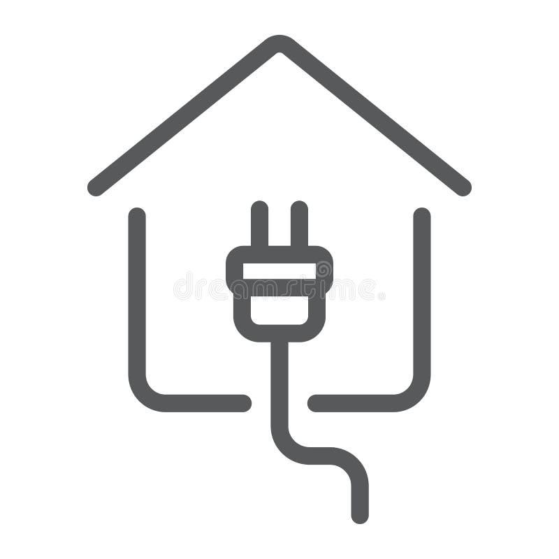 Linha home ícone, bens imobiliários e casa da eletricidade ilustração stock