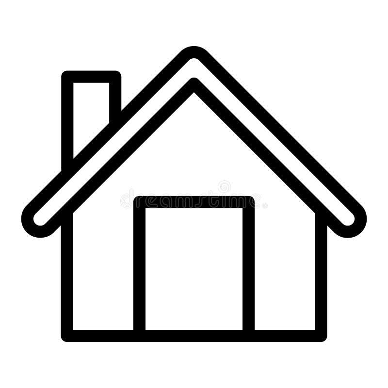 Linha home ícone Ilustração do vetor da casa isolada no branco Projeto do estilo do esboço da construção, projetado para a Web e  ilustração stock