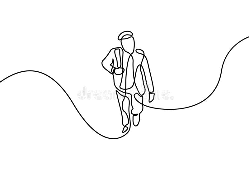 A linha homem contínua escala acima as etapas Primeiro dia da faculdade Ilustra??o do vetor ilustração royalty free