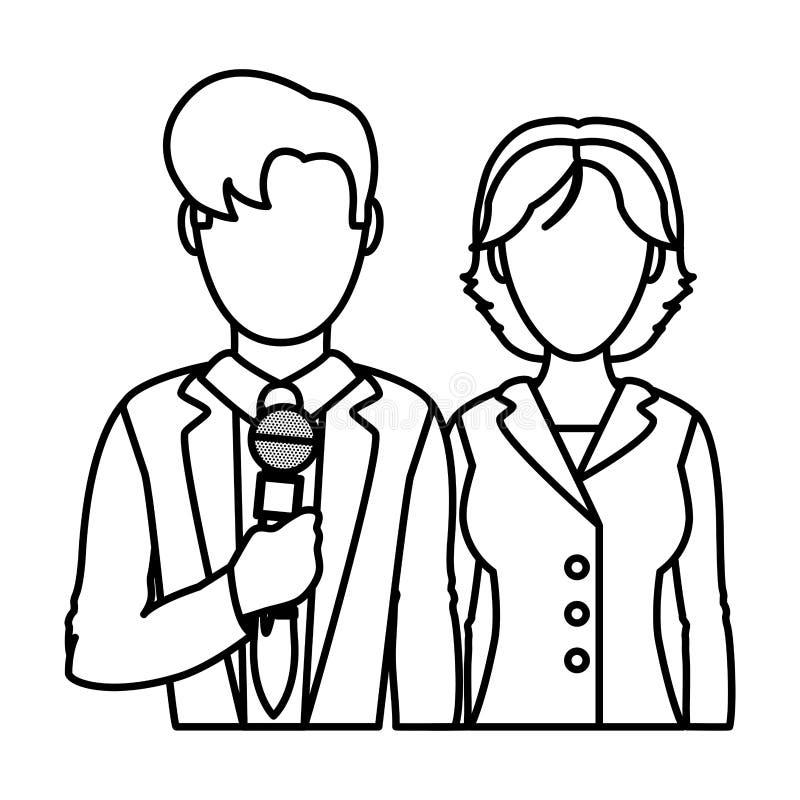 Linha homem e informação dos repórteres do sócio da mulher ilustração stock