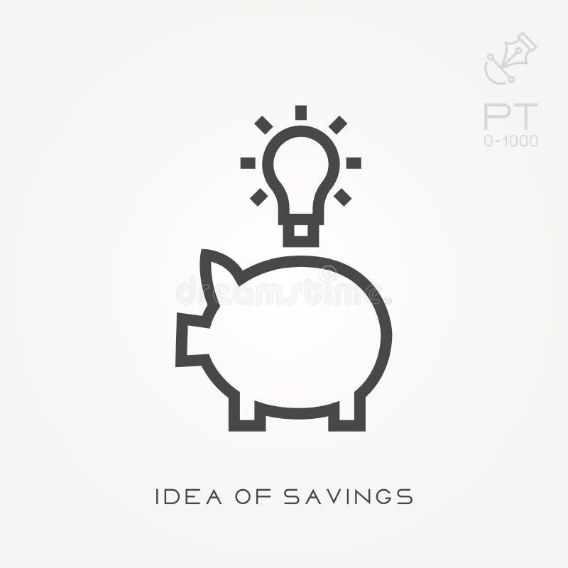 Linha ideia do ícone das economias ilustração stock