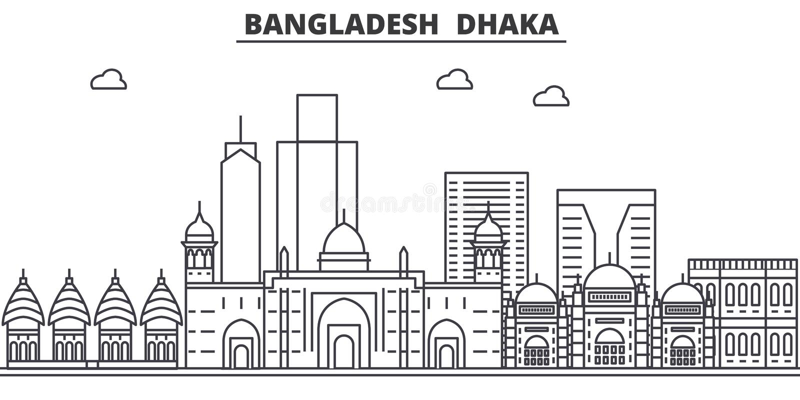 Linha ilustração da arquitetura de Bangladesh, Dhaka da skyline Arquitetura da cidade linear com marcos famosos, vistas do vetor  ilustração royalty free
