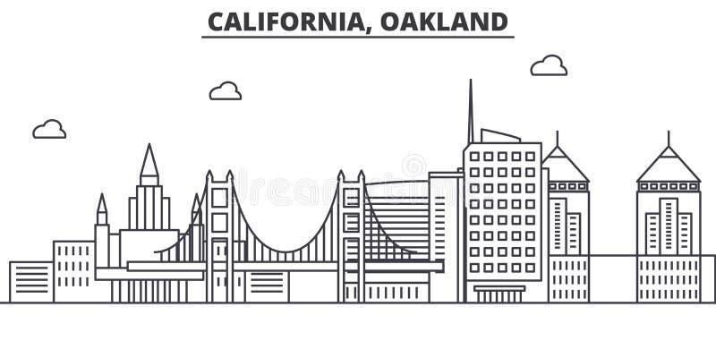 Linha ilustração da arquitetura de Califórnia Oakland da skyline Arquitetura da cidade linear com marcos famosos, vistas do vetor ilustração royalty free
