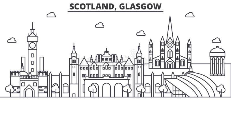 Linha ilustração da arquitetura de Escócia, Glasgow da skyline Arquitetura da cidade linear com marcos famosos, vistas do vetor d ilustração stock