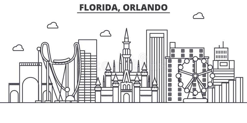 Linha ilustração da arquitetura de Florida Orlando da skyline Arquitetura da cidade linear com marcos famosos, vistas do vetor da ilustração royalty free
